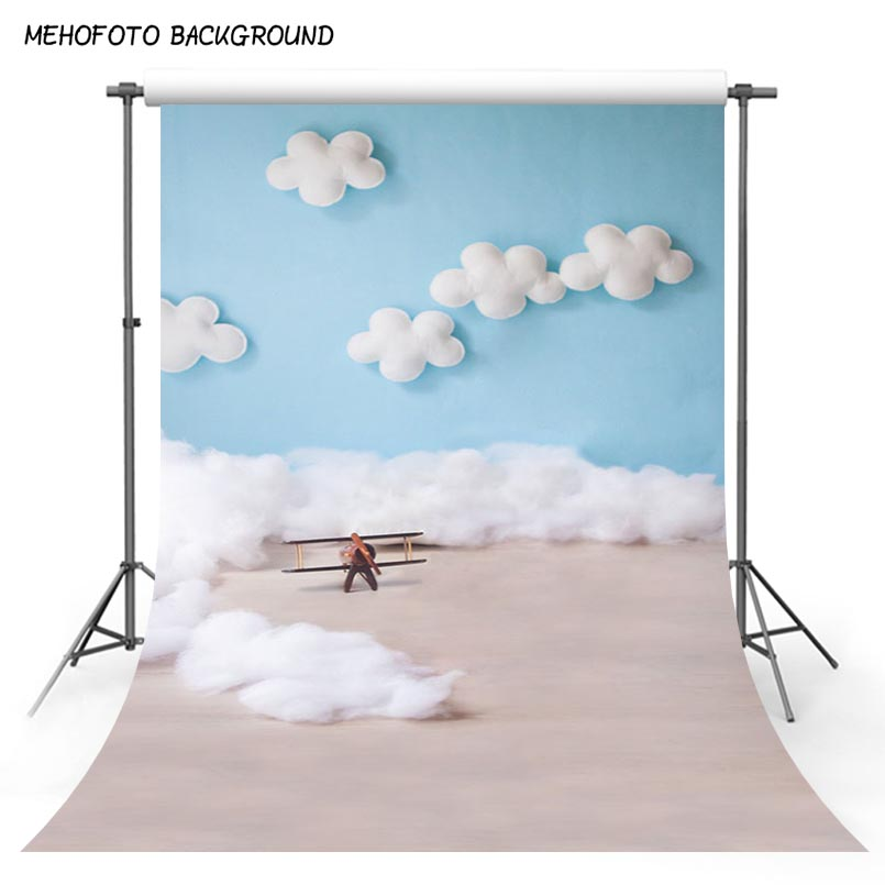 Photo Backdrop Blue Sky White Clouds Baby Pilot Photography Backdrop Toy Aircraft Kid Boy Birthday Photo Shoot Studio Background