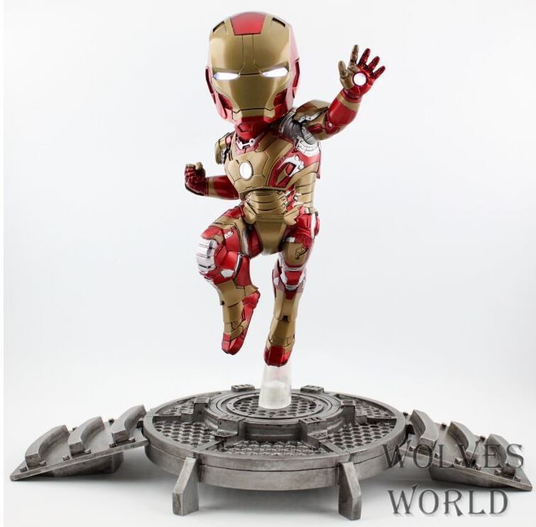23cm Hot Iron Man light Action Figures PVC brinquedos Collection Figures toys for christmas gift iron man action figure mini egg attack light 6pcs set action figures pvc brinquedos collection figures toys for christmas gift