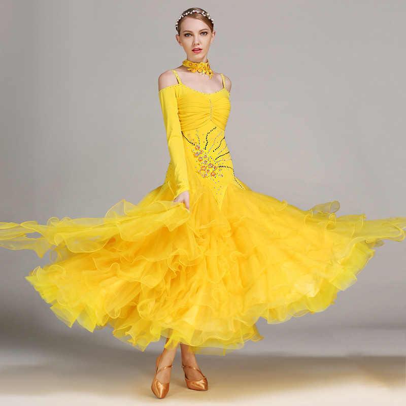f22563ffe5 Konkurs tańca towarzyskiego sukienka kobiety Lycra spódnica Lady Standard  taniec sukienki Flamenco ubrania walc Foxtrot kostiumy