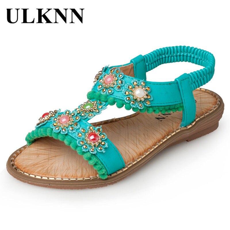 ULKNN Girls Sandals Blue Flowers 2019 Beach Shoes Breathable  Summer Flat Sandals For Kids Enfants Sandal Green 26-30