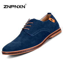 Big Size 48 Men Flats Shoes Casual Men Leather Shoes Luxury Brand Black Cow Suede Men