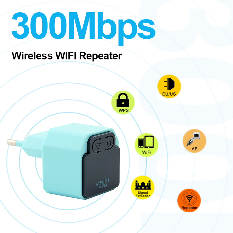Wireless WIFI 300Mbps Repeater With US/EU Plug 2.4Ghz WI-FI Router 802.11N Signal Booster WIFI Range Extender Amplifier Repeater