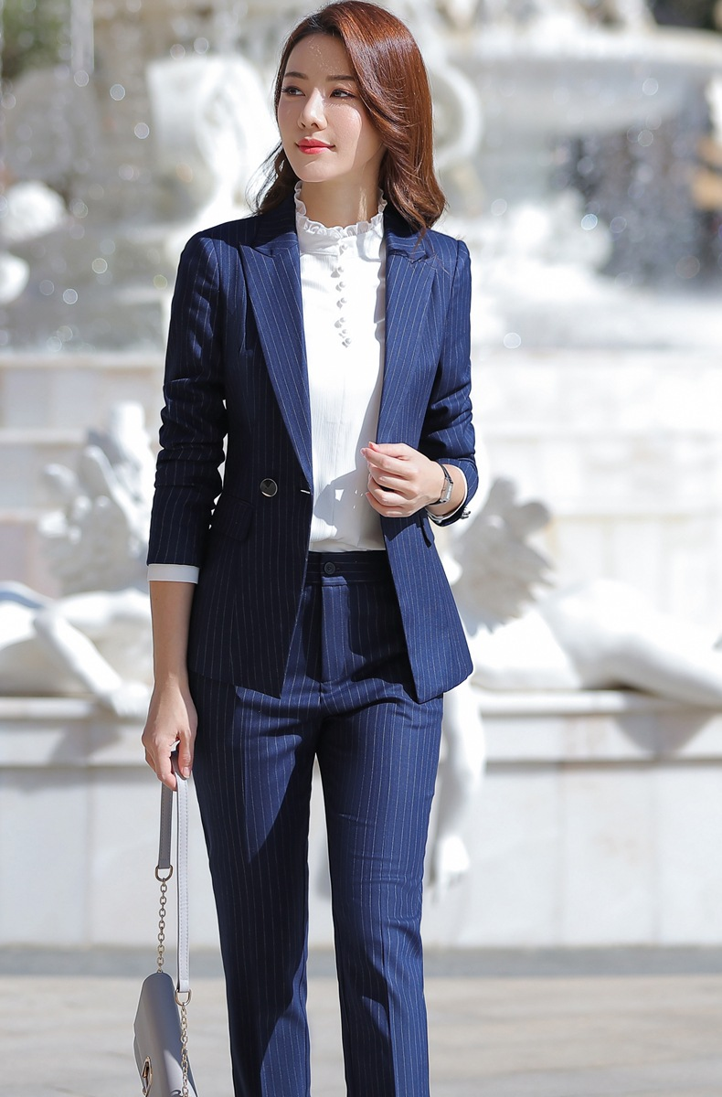 HTB1u0LBaaL7gK0jSZFBq6xZZpXaE - Women Two Piece Outfits Elegant Stripe Full Sleeve Blazer+Skirt 2 Pieces Business Career Skirt Suits Office Clothes KY80869