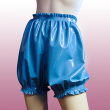 Latex  shorts  for adule with ruffle sexy charming bloomer unisex handmade transparent color free shipping