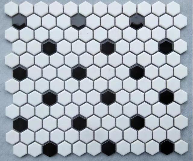 Black White Nordic Hexagon Porcelain
