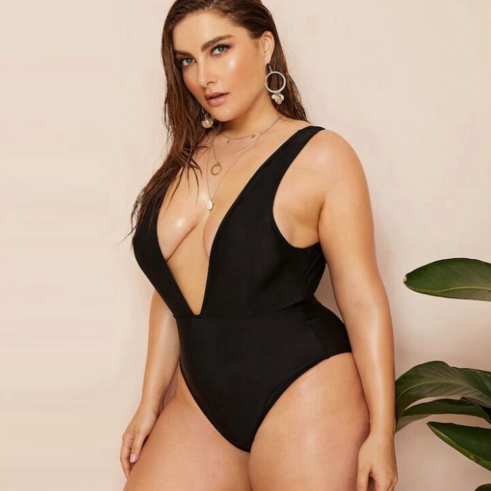 Plus size Black swimsuit women one piece swimwear v neck high cut monokini sexy plunge swimsuit swimming suit bathing suit 2019