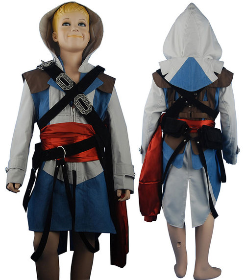 Kids Boys Connor Kenway Hoodie Outfit Halloween Carnival Comic-con Anime Cosplay Costume