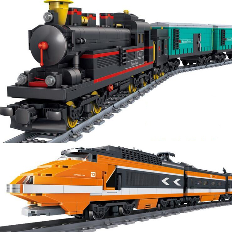 City Series Radio train the Cargo Train Set Building Blocks Bricks RC Train Children Educational Toys Gifts Toys for Children lepin 02082 new 829pcs city series the cargo terminal set diy toys 60169 building blocks bricks children educational gifts model