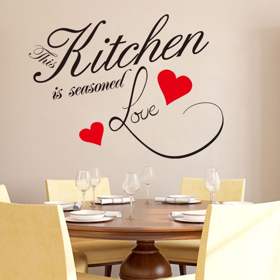 Diy Kitchen Love Red Heart Wall Sticker Restaurant Removable Waterproof Vinyl Wall Decals For Kitchen Wall