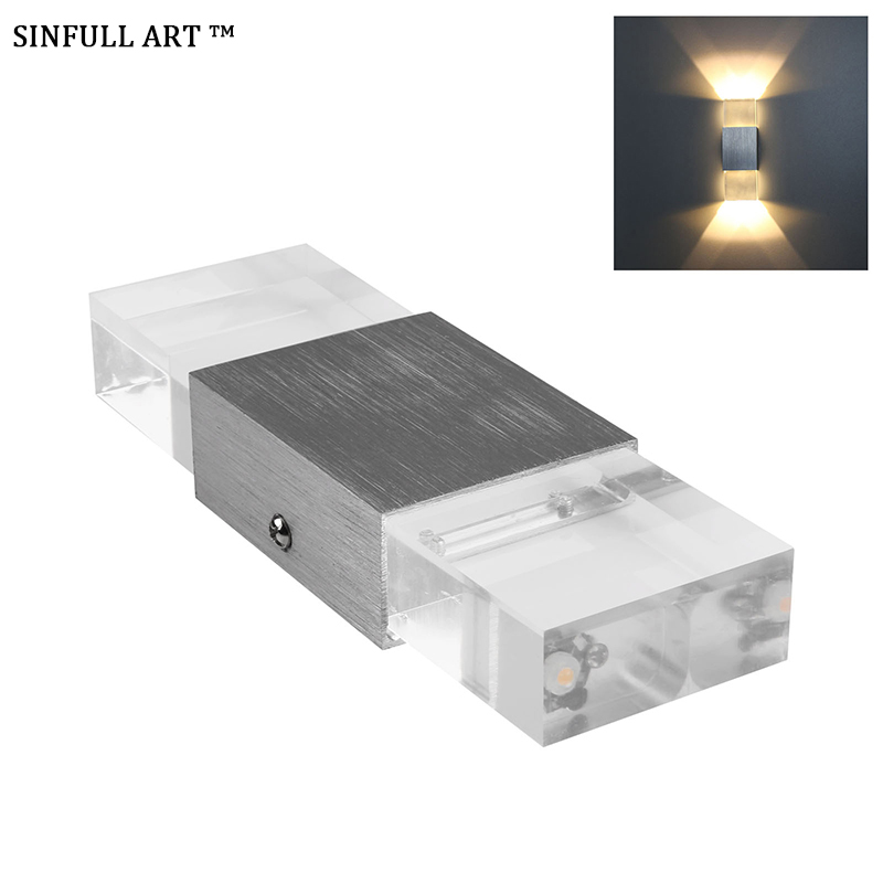 Solid Wall Lamp Led 3w Indoor Wall Light Aluminum Up Down: SINFULL Modern 2W LED Wall Lamps Corner Bedside Bedroom