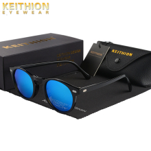 KEITHION TR90 Lightweight Tortoise Brown Glasses Men Women Classic Vintage Retro Polarized Sunglasses Round Eyewear