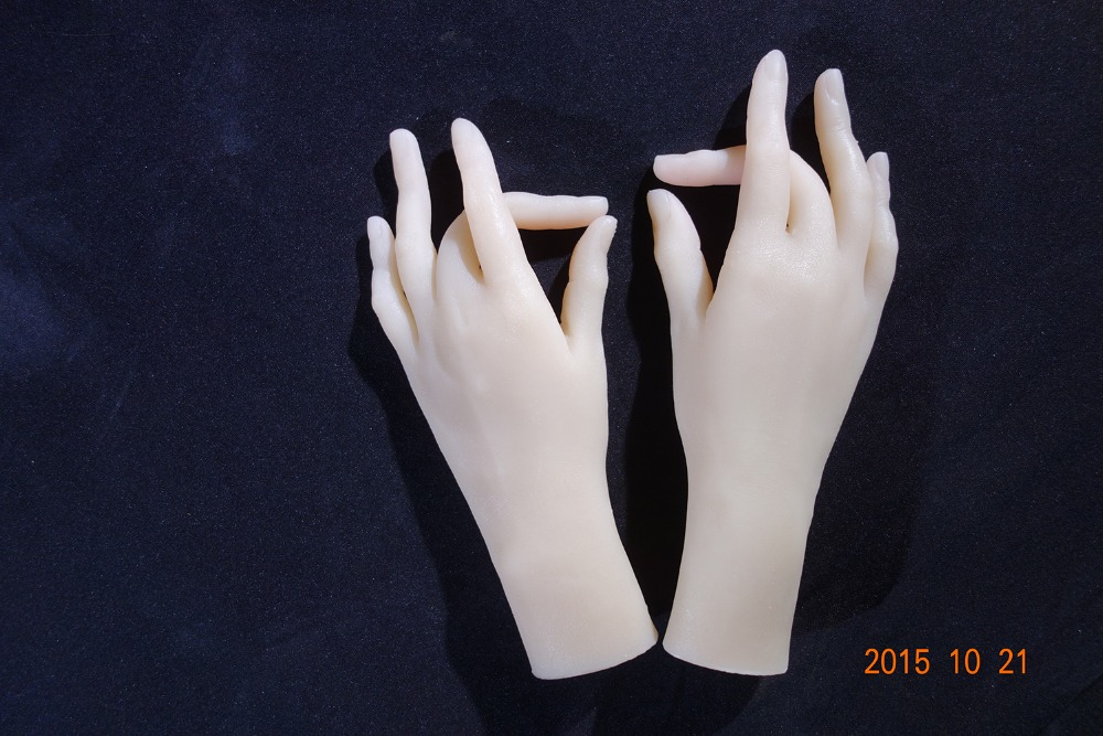Free shipping!Solid Silicone Female Hands,Sex Doll Real Skin,realistic mannequin hands, ring display ,Sexy Woman Hand