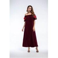 Letnie Sukienki damskie 2018 Hafty Ubrania dla Kobiet Styl Boho długa Sukienka Kobiety Slash Neck Luźna Sukienka Boho Chic Red archiwalne