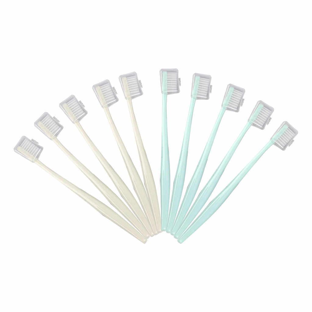 Szczoteczka do zębów 10 sztuk/zestaw wielokolorowe miękkie włosie szczoteczki do zębów mała głowa wielu kolorów szczoteczka do zębów podróży przenośne plastikowe czyste May9