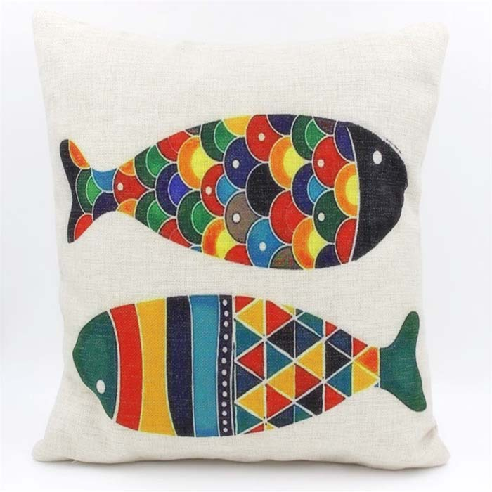 Hand Painted Style Cushion Cover Color Geometry Plaid Fish Pillow Beauteous Hand Painted Pillow Covers