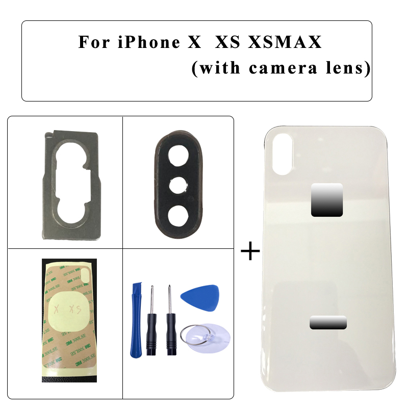 Best Quality Back Glass Replacement For IPhone X/ XS / XS MAX Battery Cover Rear Door Housing With Camera Lens + 3M Tape