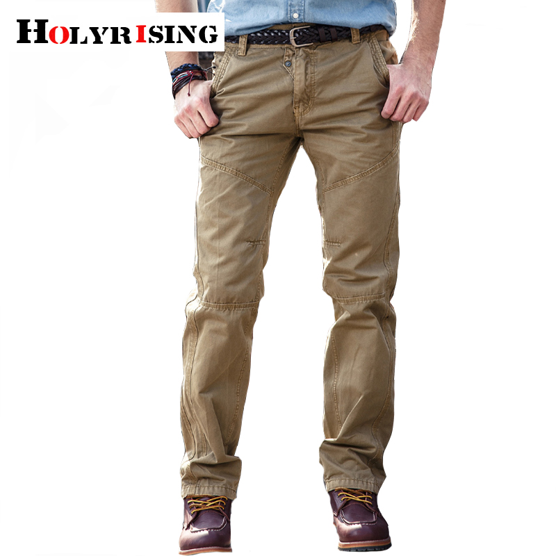 Holyrising Men Pants 100% Cotton Leisure Pantalones Hombre Pockets Tactical Pants Outdoor Zipper Trousers Szie 29-38 18765-5