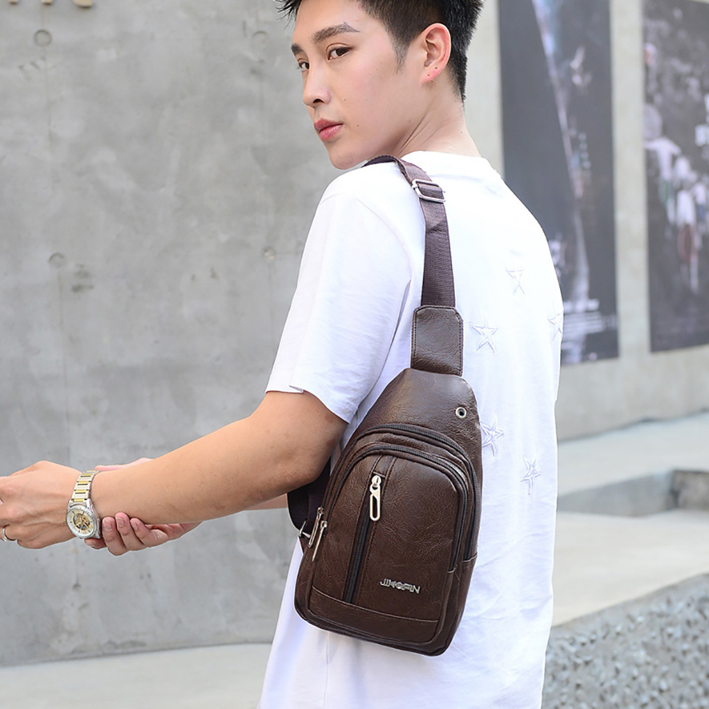 2019 Fashion Men Fashion Casual Sports Bag Shoulder Bag Solid Color Messenger Bag Pocket Crossbody Chest Purse Bags