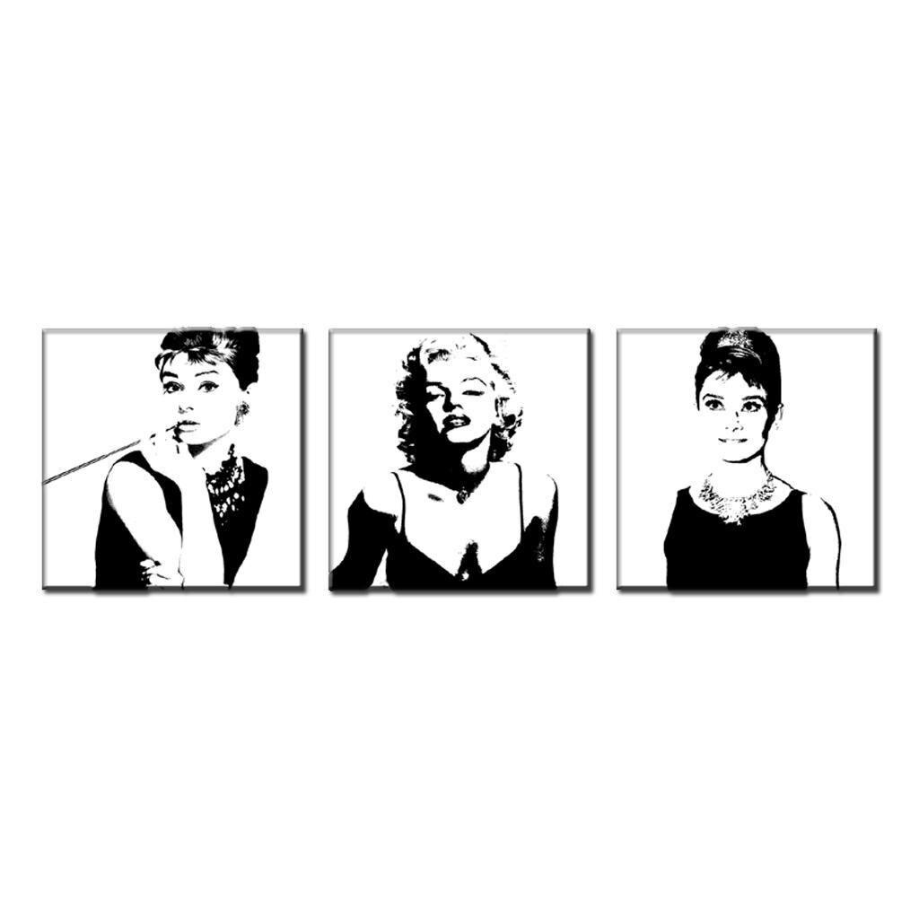 3 unids/set retrato enmarcado lienzo pintura blanco y negro Marilyn ...