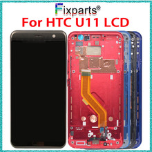 For 5.5 HTC U11 LCD Display Touch Screen Digitizer Assembly With Frame U-3w U-3u Replacement Parts+Free Tools
