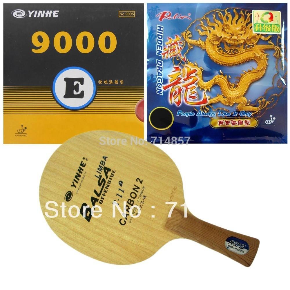 Galaxy Yinhe T-11 + Tennis De Table Lame avec 9000E/Palio Hidden Dragon (mise à niveau) caoutchouc éponge raquette Shakehand Long Manche FL