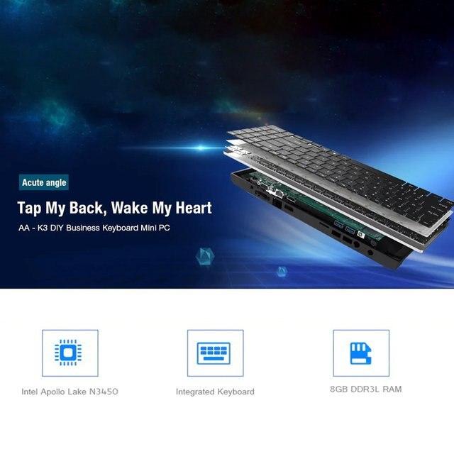 AA-K3 DIY Business Keyboard Mini PC Intel Apollo Lake Celeron N3450 8GB 64GB Windows 10 M.2 SSD 2.4+5GHz WiFi BT4.0 1