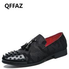 QFFAZ 38-45 Rivet Men Leather Shoes Slip On Moccasins Men Pointed Toe New 2018 Men Shoes
