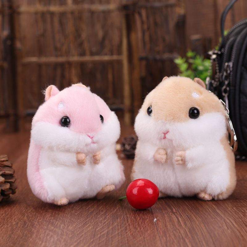 Plush Toys Mini Kawaii Simulation Hamster Cartoon Cute Stuffed Doll Boys Girls Keychain Toy Gifts For Kids Children Keyrings