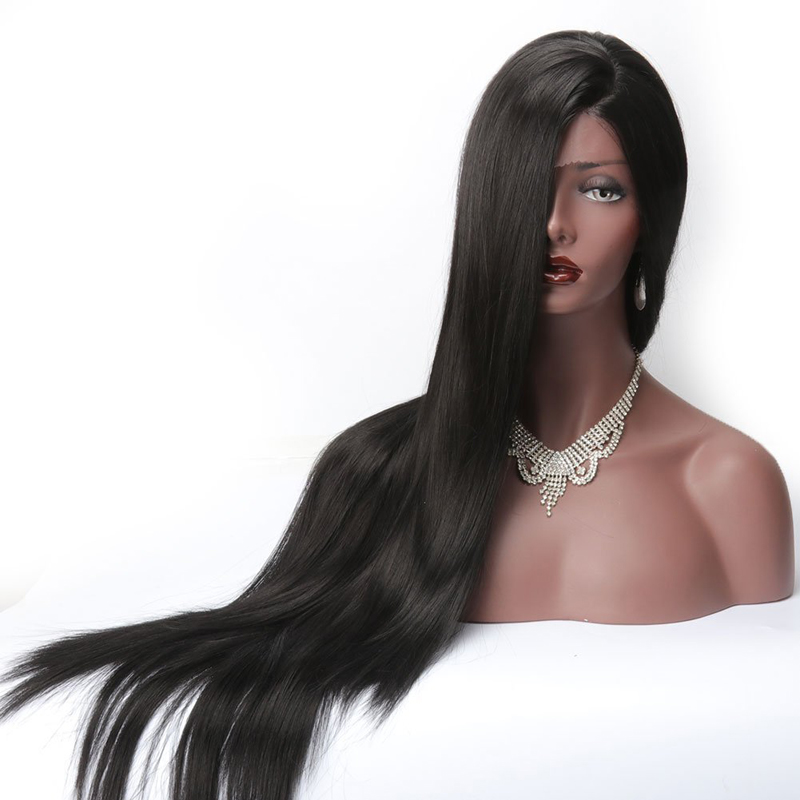 Long Silky Straight Lace Front Wigs Synthetic For Black Women Heat Resistant L Part Natural Afro