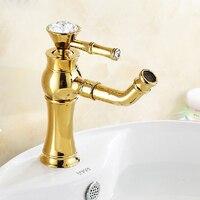 Cuencas de grifo cristal decorativo oro lavabo grifos cabeza Caño 360 grados giratoria de latón cubierta montó el agua grúa 325