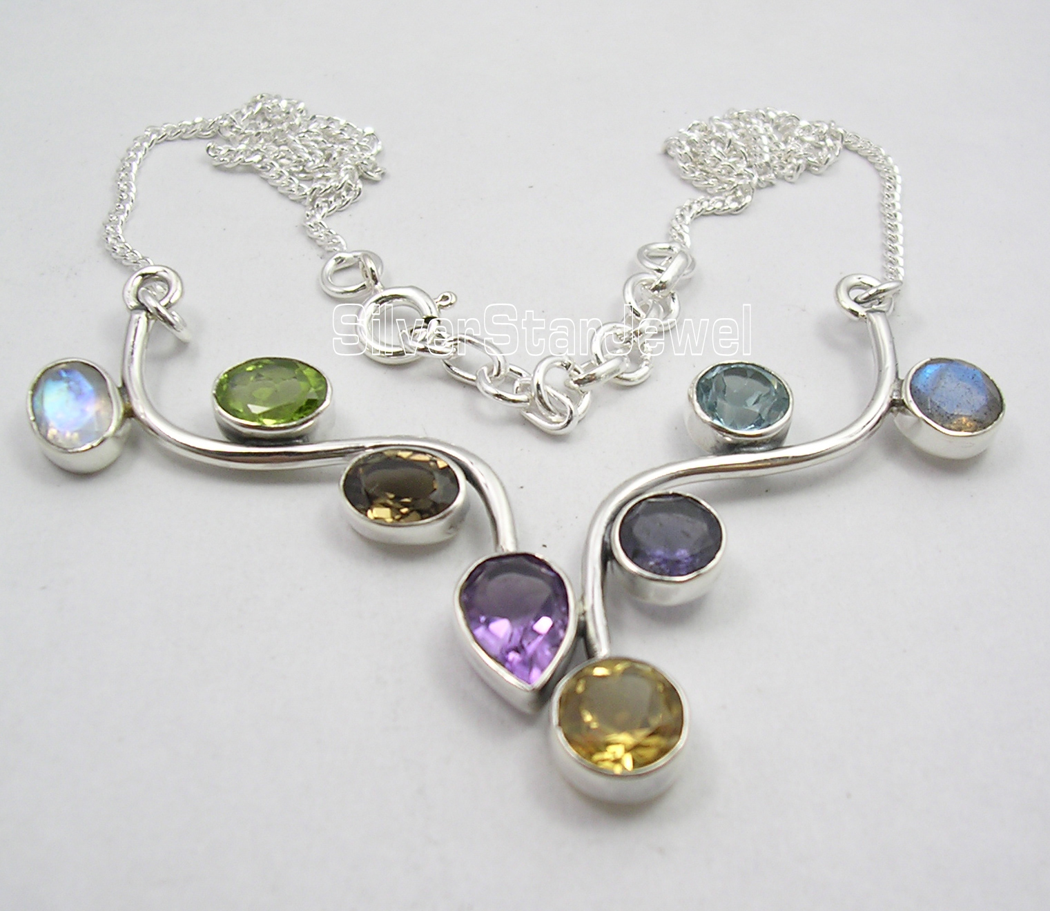 Chanti International Solid Silver MULTICOLOR Genuine MULTISTONES Necklace 16.5 Inches HANDMADE xishixiu 11 16 inches