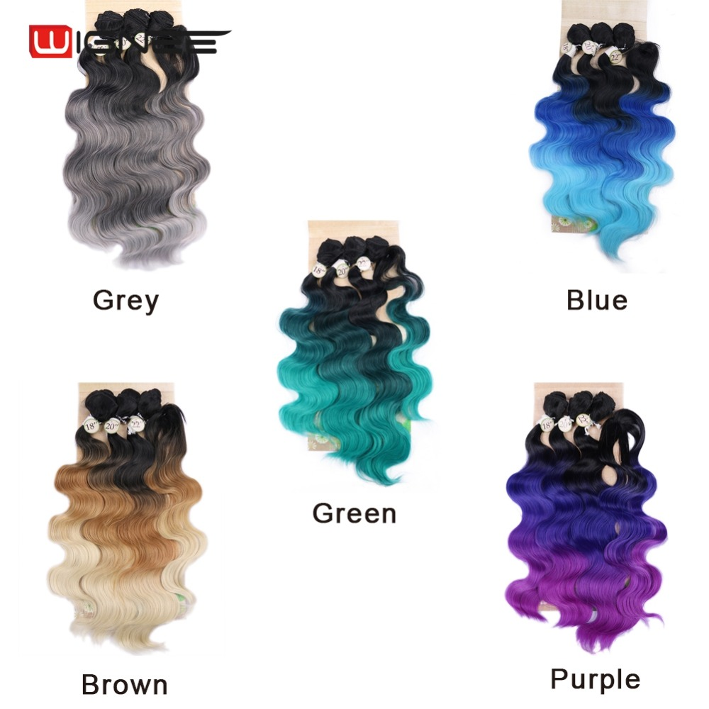 Image 5 - Wignee  Synthetic Hair Extension For Black Women Colorful Hair Bundles With Closure 3 Tone Ombre Color Purple/Blue/Grey HairOne Pack   -