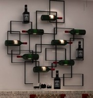 Wrought iron wine frame wall. Red wine rack hanging wine