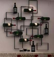 Wrought iron wine frame wall. Red wine rack hanging wine simple solid wood wine frame wooden red wine rack creative wine frame hanger glass cup rack hanging cup frame wx6291103
