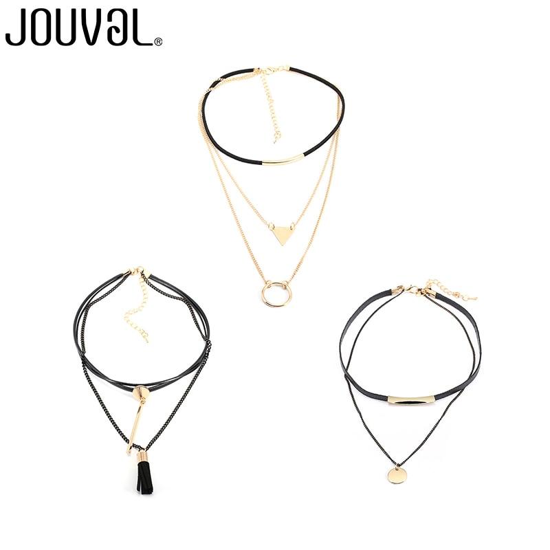Jouval набор колье Цепочки и ожерелья 3 шт./лот женский, черный кожа чокеры multi цепи Цепочки и ожерелья себе Chocker супер значение распродажа