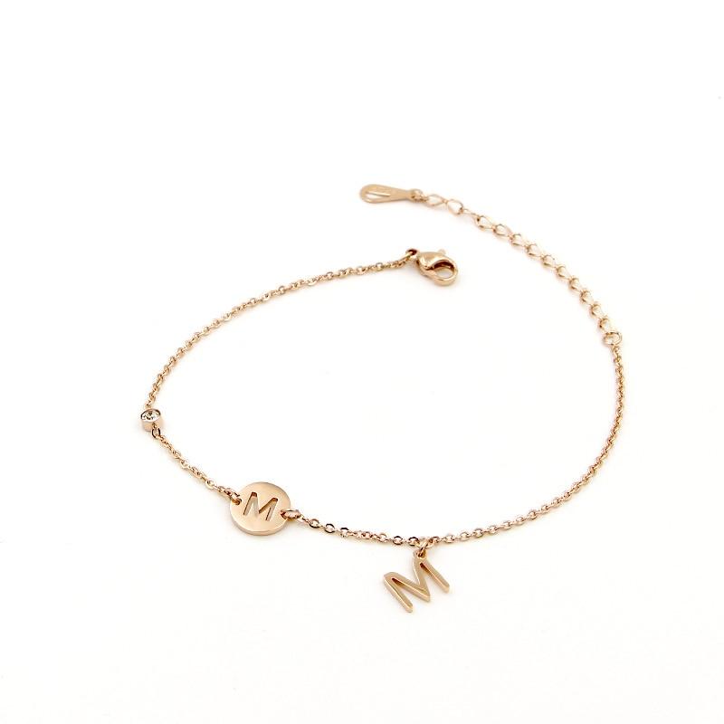Stainless Steel M Letter Anklets For Women Enkelbandje Rose Gold Color Pulseras Tobilleras Crystal Ankle Bracelet Jewelry In From