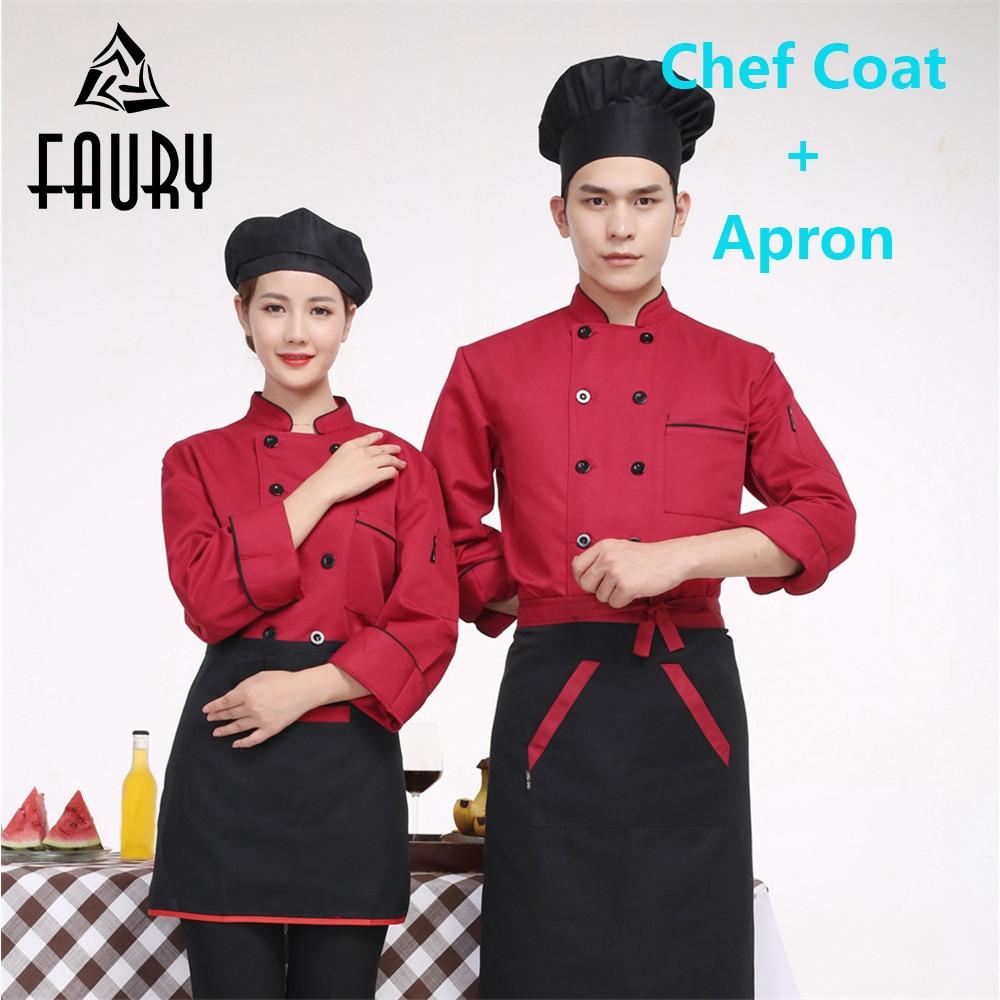 Unisex Men Chef Waiter Double Breasted Work Uniforms Kitchen Jacket Cozinha Women Cooking Wear Coats Long Sleeve Spring Tops