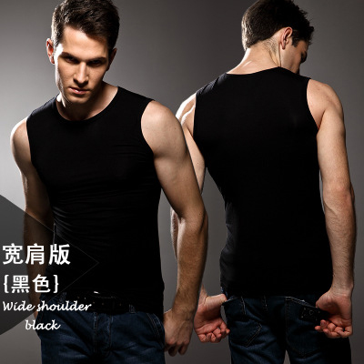 Image 2 - 3pcs High quality Men's modal Solid color underwear clothing close fitting vest lycra high elasticity broad shoulder undershirts-in Undershirts from Underwear & Sleepwears