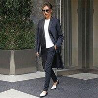 Черные костюмы Штаны длинное пальто Повседневная обувь комплекты из 2 предметов Для женщин офисные Бизнес офисный униформенный Стиль Тонки