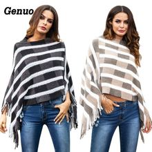 цена на Genuo Women's Ponchos Capes Winter Knit Sweater With Tassel 2018 Autumn Crop Top Pullover Femme Oversized Sweaters Jumpers