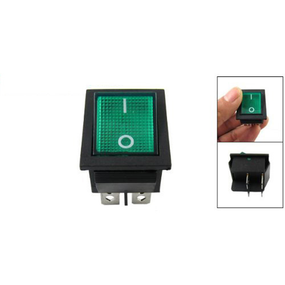 WSFS Wholesale 2 X Green Light 4 Pin DPST ON/OFF Snap In Rocker Switch 15A 30A 250V AC 28x21mm water resistant in line on off rocker switch w green light for electric diy black green