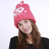 Winter Leisure Warm Hat Lady Cap Fashion Skull Pattern Without Brim Hat Blended Knitted Female Hat
