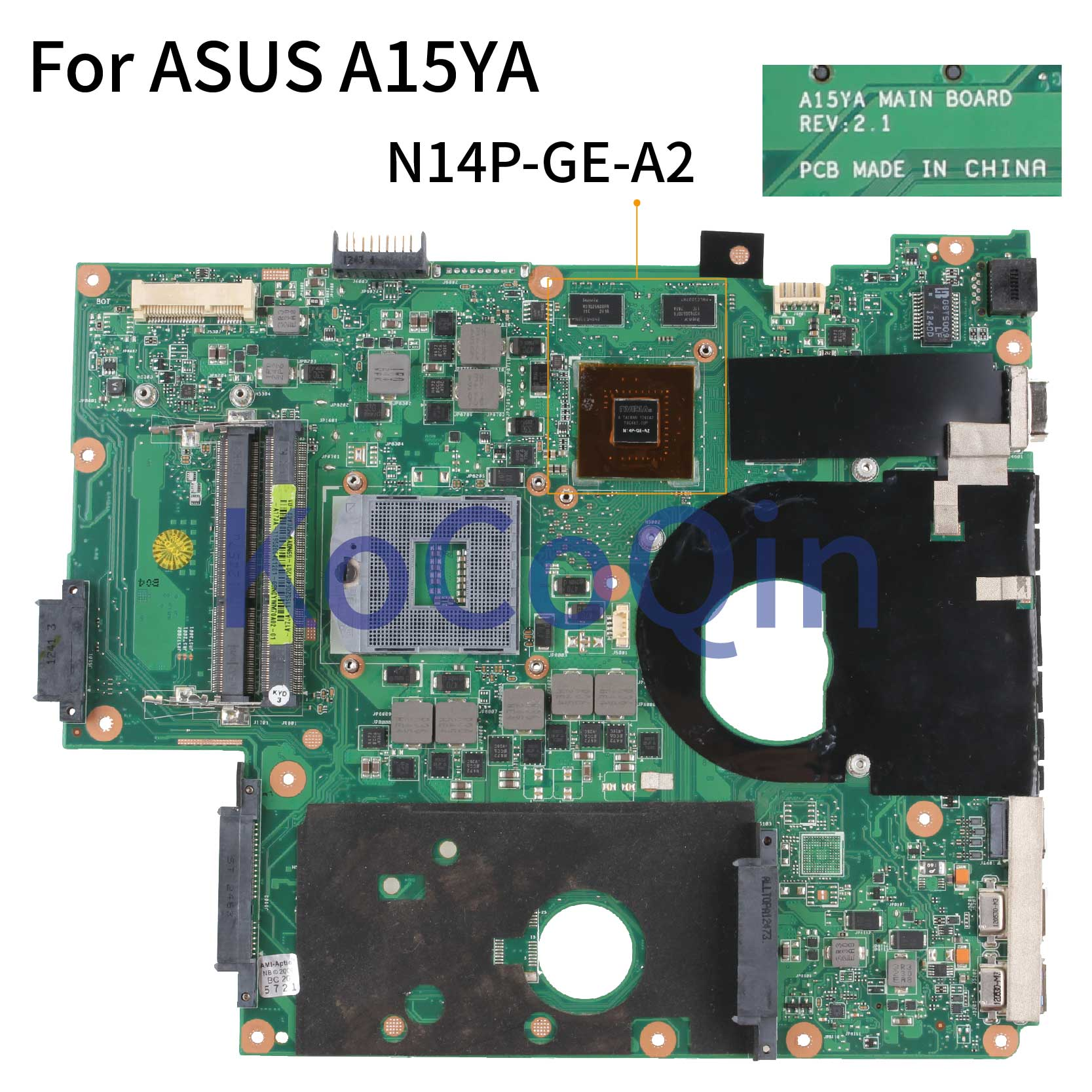 KoCoQin Laptop Motherboard For ASUS A15YA REV:2.1 SJTNV Mainboard