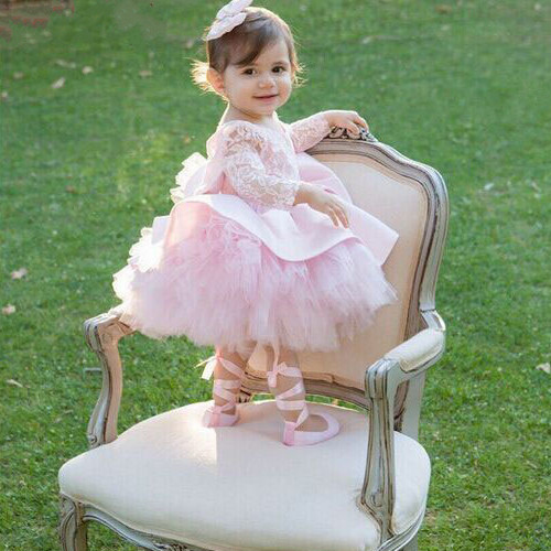 pink tulle little girl tutu 1 year birthday party gown open back long sleeves flower girl dresses with bow pink cold shoulder long sleeves cotton dress with open back design