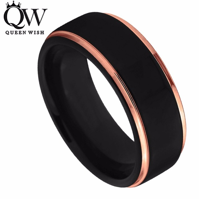 queenwish tungsten wedding ring 8mm for men women black rose gold stepped edge polished engagement - Tungsten Wedding Rings