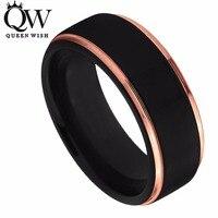 Queenwish tungsten wedding ring 8mm dla mężczyzn kobiety czarne i różowe złoto wszedł krawędzi polerowane zespoły zaręczynowe