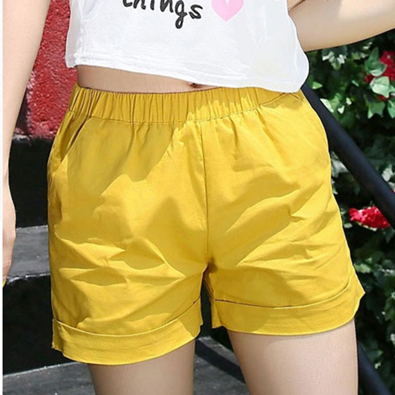 2017 Hot Sale Summer Women Cloth Solid Color   Shorts   Pure Cotton Loose Casual   Shorts   Elastic Waist Straight Hot   Shorts   for Girls