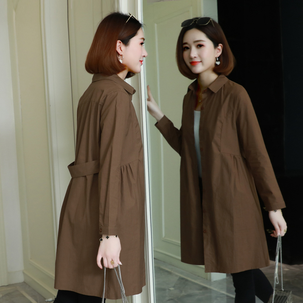 Womens   Trench   Coat Midi Long Korean Style 2019 New Loose Leisure Ladies Thin Coats Spring Fall Female Outwear Plus Size 3xl 4xl