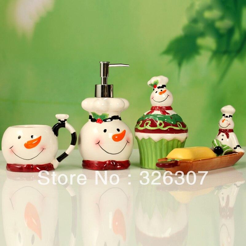 European Christmas Snowman Bathroom Set 4 Painted Ceramic Sanitary Ware Wedding Housewarming Portfolio China