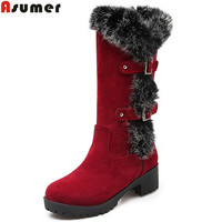 Asumer Flock Buckle Winter New Arrive Women Boots Black Wine Red Army Green Mid Calf Boots